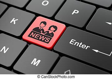 ニュース, concept:, アンカーマン, 上に, コンピュータキーボード, 背景