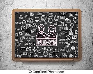 ニュース, concept:, アンカーマン, 上に, 学校, 板, 背景