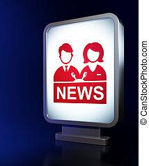 ニュース, concept:, アンカーマン, 上に, 広告板, 背景
