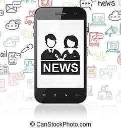 ニュース, concept:, smartphone, ∥で∥, アンカーマン, ディスプレイの上に