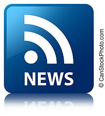 ニュース, (rss, feed), グロッシー, 青, 反映された, 広場, ボタン