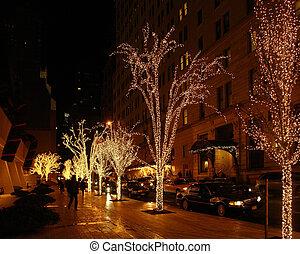 ニューヨーク, 通り, 景色, ∥において∥, クリスマスの 時間