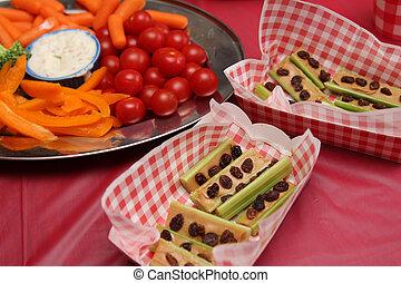 ニンジン, ピクニック, のように, 食物, セロリ, tomatoess