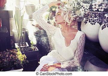 ニンフ, 取得, 花, sunbath
