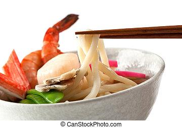 ヌードル, シーフード, 日本語, うどん, 人気が高い, スープ, 皿