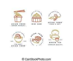 ヌードル, セット, logos., badges., 食物, -, アジア人, 紋章, 合計, スープ, ベクトル, ロゴ, ∥あるいは∥, テンプレート, 薄暗い, デザイン, sushi., 線である