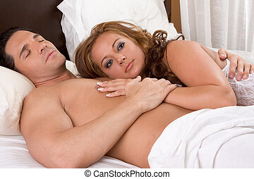 ヌード, 若い, ベッド, エロチックである, 恋人, sensual, 情事