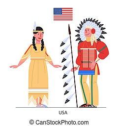 ネイティブ, アメリカ人, イラスト, 国民, flag., 衣装, ベクトル
