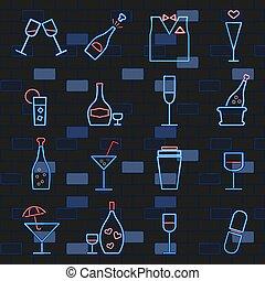 ネオンライト, card., セット, アルコール, signs., れんが, アイコン, 暗い, wall., 白熱, 飲み物