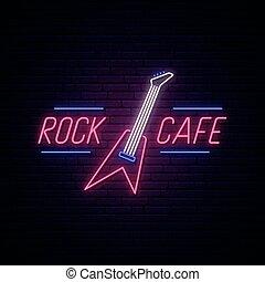 ネオン, カフェ, 岩, 印。