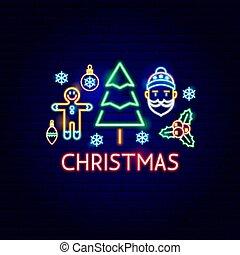 ネオン, クリスマス, ラベル