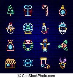 ネオン, クリスマス, 陽気, アイコン