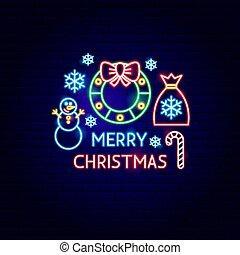 ネオン, クリスマス, 陽気, ラベル