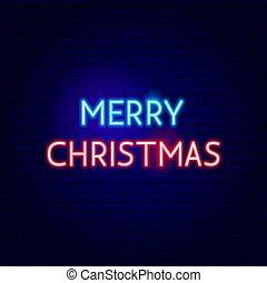 ネオン, クリスマス, 陽気, 印