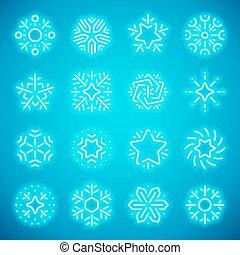 ネオン, クリスマス, 雪片