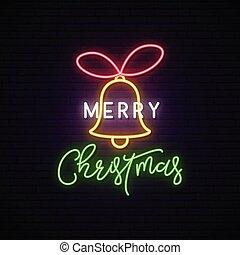 ネオン, クリスマス, signboard., 陽気