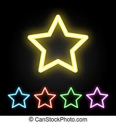 ネオン, セット, 星, カラフルである