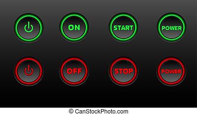 ネオン, ボタン, ベクトル, アイコン, セット, 上に, 黒, bacground