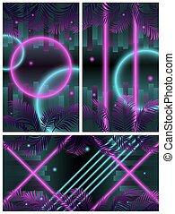 ネオン, 十字, 円, cyberpunk, 背景, 3