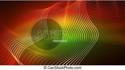 ネオン, 抽象的, ライン, 波, バックグラウンド。, 構成