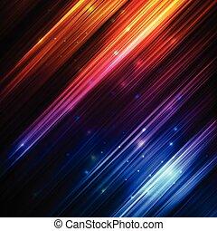 ネオン, 抽象的, ライン, 白熱, ベクトル, 背景