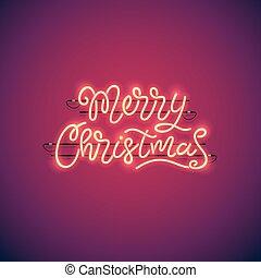 ネオン, 旗, クリスマス, 陽気