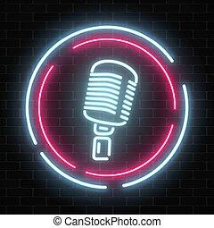 ネオン, 看板, ∥で∥, マイクロフォン, 中に, ラウンド, frame., 白熱, 通りの 印, の, バー, ∥で∥, カラオケ, そして, 生きている, singers.
