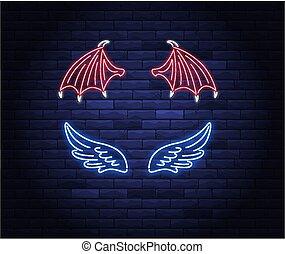 ネオン, 翼, 心, 照らされた, 天使, ハロー