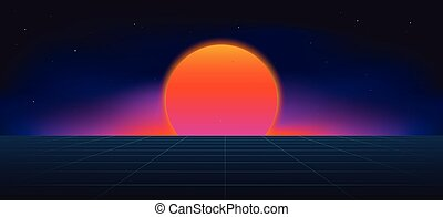 ネオン, 背景, cyberpunk, 太陽