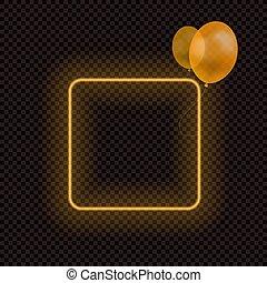 ネオン, 透明, フレーム, ベクトル, オレンジ, 隔離された, frame., 風船, ブランク, ハロウィーン, 暗い背景