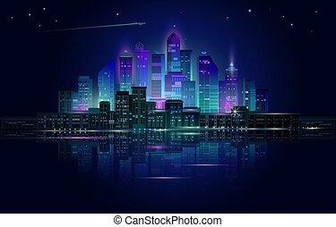 ネオン, 青, 都市, パノラマ, 夜, 白熱, バックグラウンド。, vector.