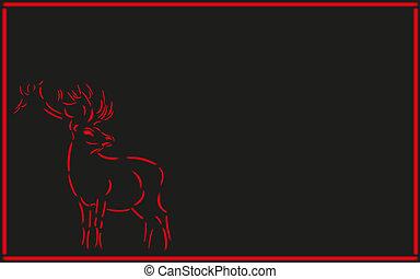 ネオン, deer., ネオン, イメージ, 上に, a, 黒, バックグラウンド。