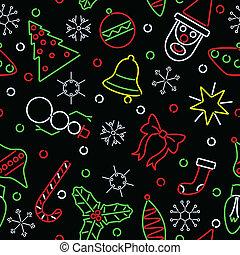 ネオン, seamless, 背景, クリスマス