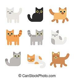 ネコ, セット, 漫画