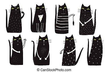 ネコ, セット, 芸術, クリップ, 黒