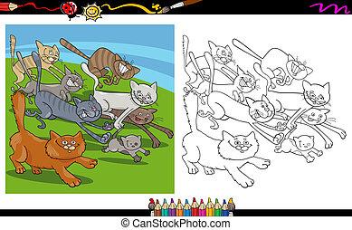 ネコ, 動くこと, 着色, 漫画, ページ