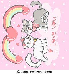 ネコ, 恋人, かわいい, 漫画, 愛