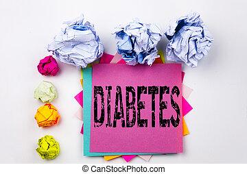 ネジ, 概念, ビジネスオフィス, テキスト, 提示, 病気, 隔離された, 付せん, バックグラウンド。, 書かれた, ペーパー, インシュリン, balls., 執筆, 医学, 白, 糖尿病