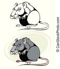 ネズミ, 白, 漫画