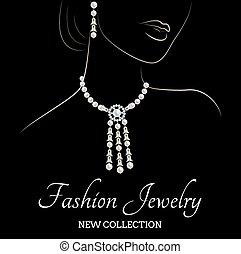 ネックレス, 真珠, 女, イヤリング