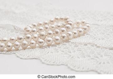 ネックレス, 真珠, 白, ハンドメイド, レース