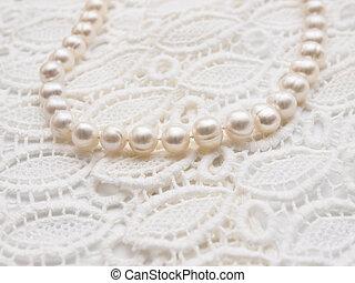 ネックレス, 真珠, 白, レース