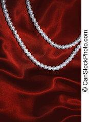 ネックレス, 真珠, 白, 絹, 赤