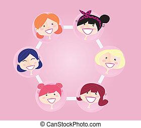 ネットワーキング, グループ, 女性