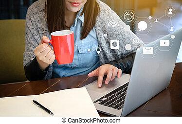 ネットワーキング, コミュニケーション, 社会, オンラインで, チャット, 媒体