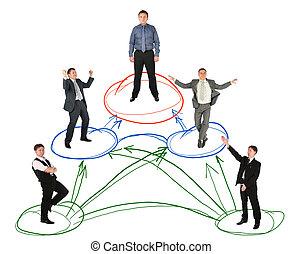 ネットワーキング, コラージュ, 背景, ビジネスマン, 白, 案, 図画
