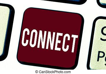 ネットワーキング, 仲間, ある, テキスト, 提示, コミュニケートしなさい, 一緒に, 印, connect., 連絡, 関係をもちなさい, 概念, 写真