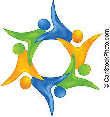 ネットワーキング, d, 人々, 3, チームワーク, ロゴ