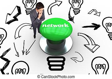 ネットワーク, に対して, ディジタル方式で生成された, 緑, 押しボタン