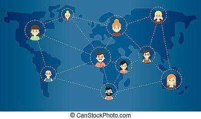 ネットワーク, アイコン, 媒体, 接続される, 社会, 旗